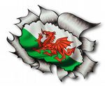 A4 Size Ripped Torn Metal Design With Welsh Wales CYMRU Flag Motif External Vinyl Car Sticker 300x210mm